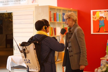 Kerstin Brunnberg, chairman of the Swedish Arts Councel being interviewed by Swedish National Radio during the 2011 announcement. Photo: Emma Jansson
