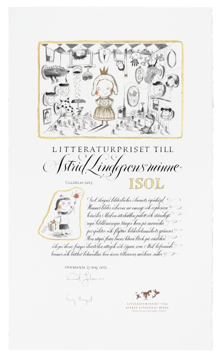 Diploma for 2013 Astrid Lindgren Memorial Award. Illustration: Maria Jönsson. Calliagraphy: Marianne Pettersson-Soold. Photo: Bengt O Pettersson.