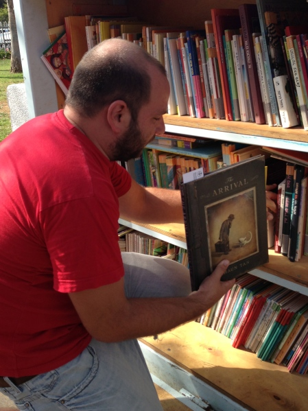 The Arrival by 2011 ALMA recipient Shaun Tan. One of the 3500 books in the Garden Library. Photo: Elina Druker