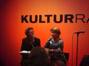 Signe Westin from the Swedish Arts Council with Minister for Culture Lena Adelsohn Liljeroth