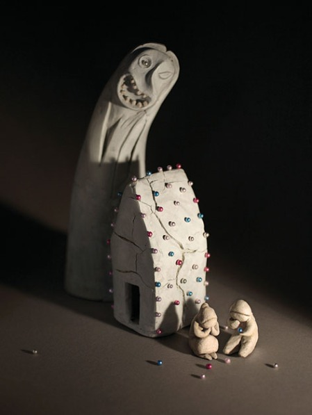 'Hansel and Gretel' Paper, clay, paint, wax and cake decorations, approx 25cm tall.