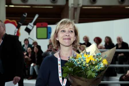 A happy publishing director, Ann Sköld Nilsson from publishing house Rabén & Sjögren.