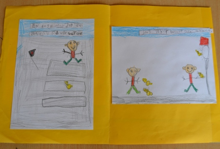 """One day I found a duck on our street."" ""I´m playing basketball with the duck."" A boy draws his own story inspired by 2013 ALMA laureate Isol's book ""It's useful to have a duck."""
