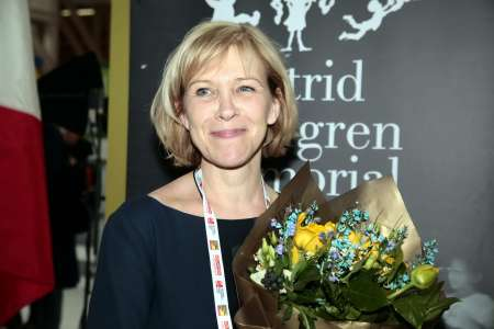 Ann Sköld Nilsson after the annoncement at the Illustrator's café, Bologna Children's Book Fair. Photo: Award Office