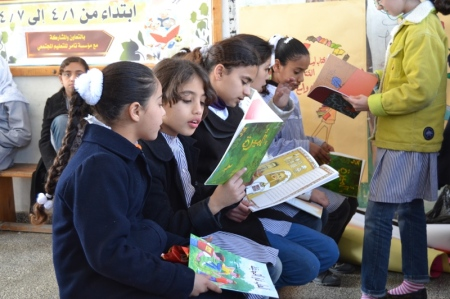 Reading activities in Gaza during the National Reading Campaign 2014. Photo: Tamer Institute