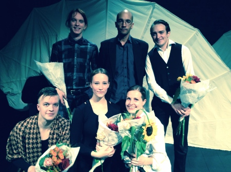 Back row: Stage Designer Karl Anders, Composer Yves Diop, Director Emil Sandberg. Front row: actors Jaakko Kulmala, Sannah Nedergård and Sanna Sandberg.