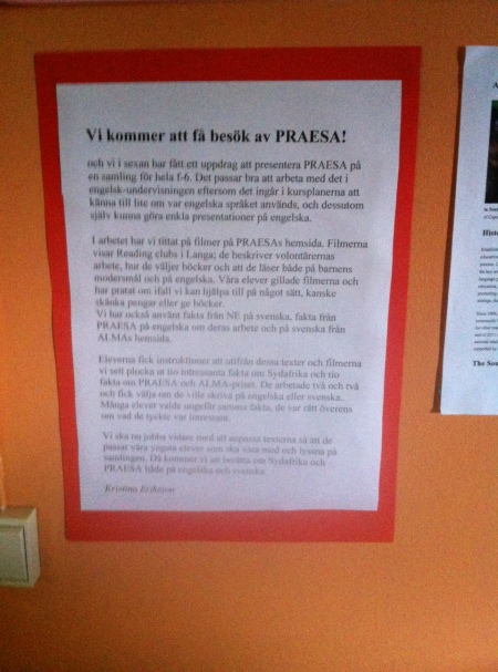 """PRAESA will visit us!"" Text about PRAESA's visit during the Award week."