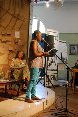 Ntombizanele Mahobe (speaking) and Carole Bloch