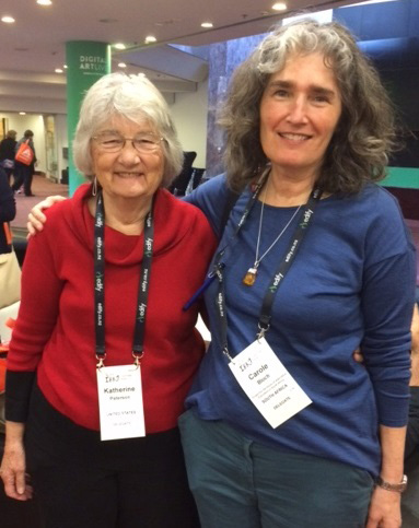 Two ALMA laureates meeting for the first time; Katherine Paterson (2006) and Carole Bloch, director of PRAESA (2015).